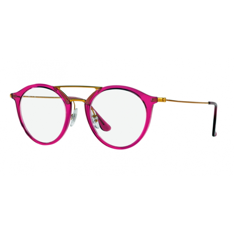 RAY BAN RX7097 5631 Acétate injecté violet   rouge branches bronze et  cuivre forme ronde. Loading zoom 12fd70ca60a2